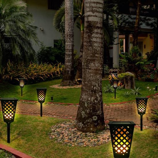 Felinar solar cu efect de flacara Dancing Tiki Light
