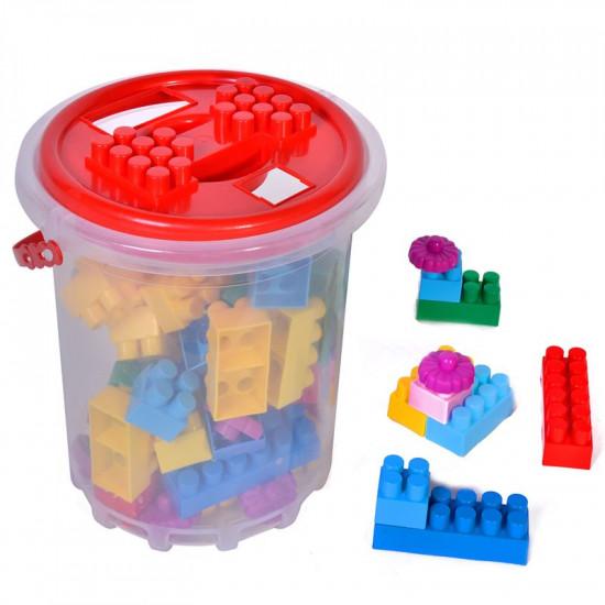Galeata cu cuburi de construit , 48 de piese multicolore
