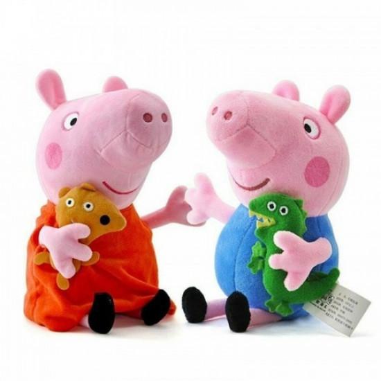 Set 2 Jucarii Din Plus Peppa Pig si George 30 cm