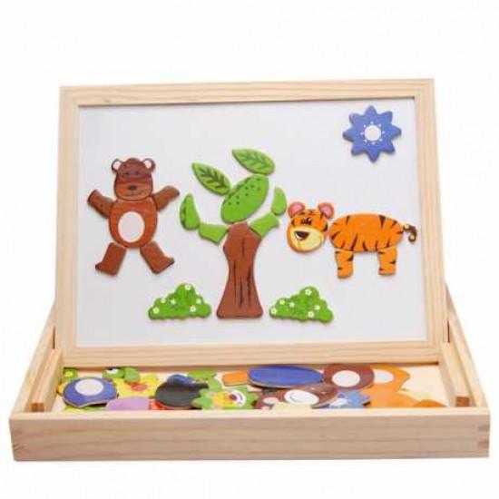 Tabla educationala pentru copii cu puzzle magnetic 3 in 1