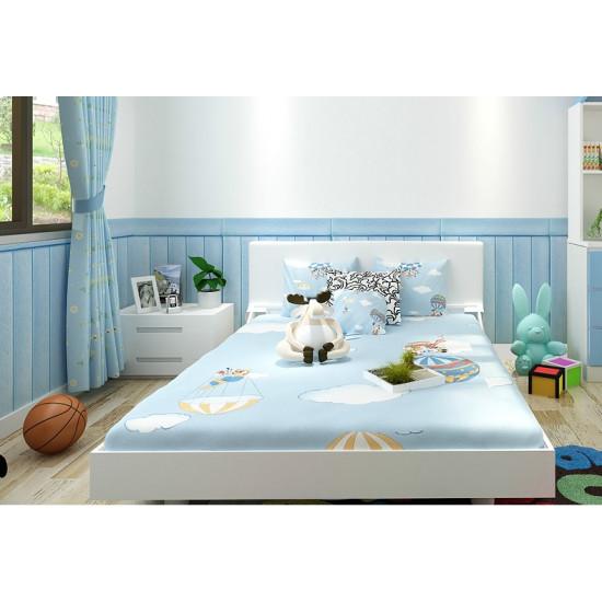 Tapet autoadeziv model Lemn albastru , 70 x 70 cm, spuma moale 3D