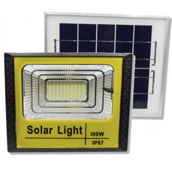 Proiector led cu panou solar si telecomanda 100 w